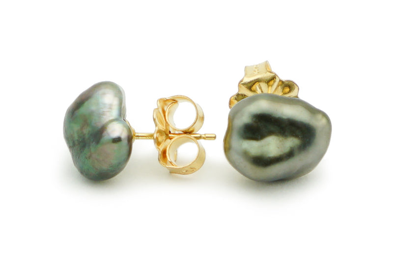 Large Dark Green Keshi Pearl Stud Earrings