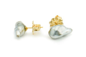Silver Flower Bud Keshi Pearl Stud Earrings