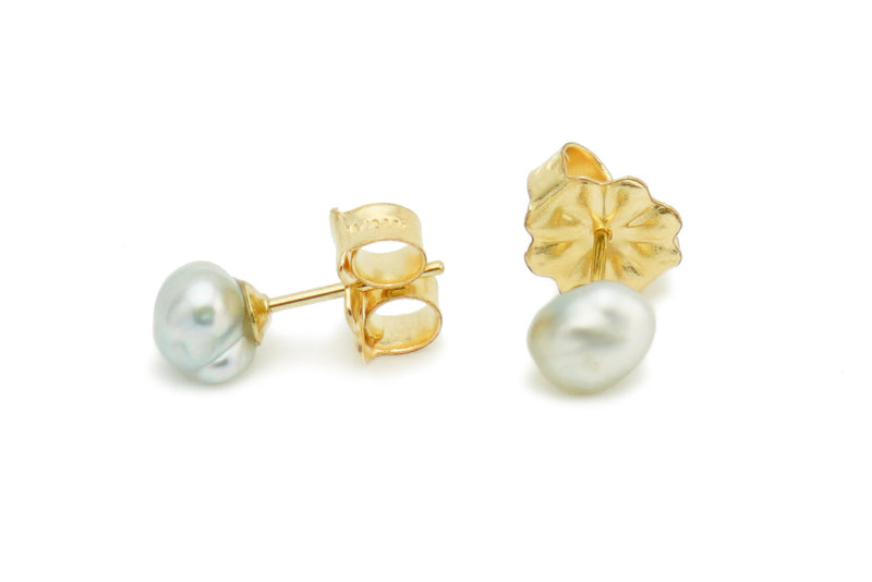 Light Silver Keshi Pearl Stud Earrings