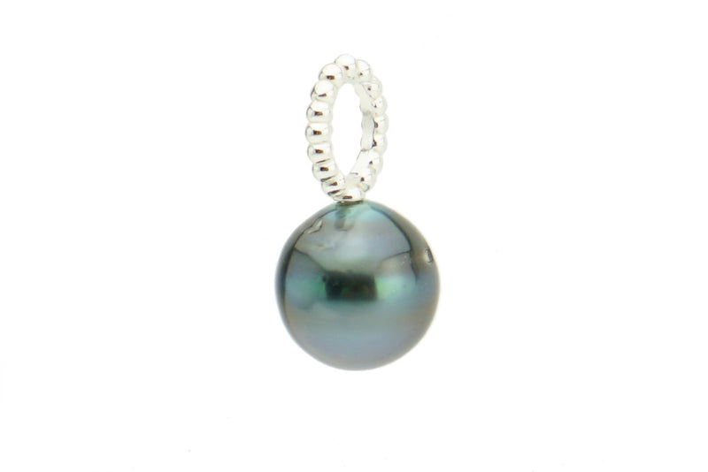 Blue Green Drop Tahitian Pearl Pendant