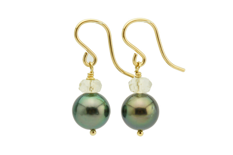 Green Peacock and Sunstone French Hook Tahitian Pearl Earrings