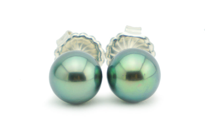 Aqua Blue-Green Tahitian Pearl Stud Earrings