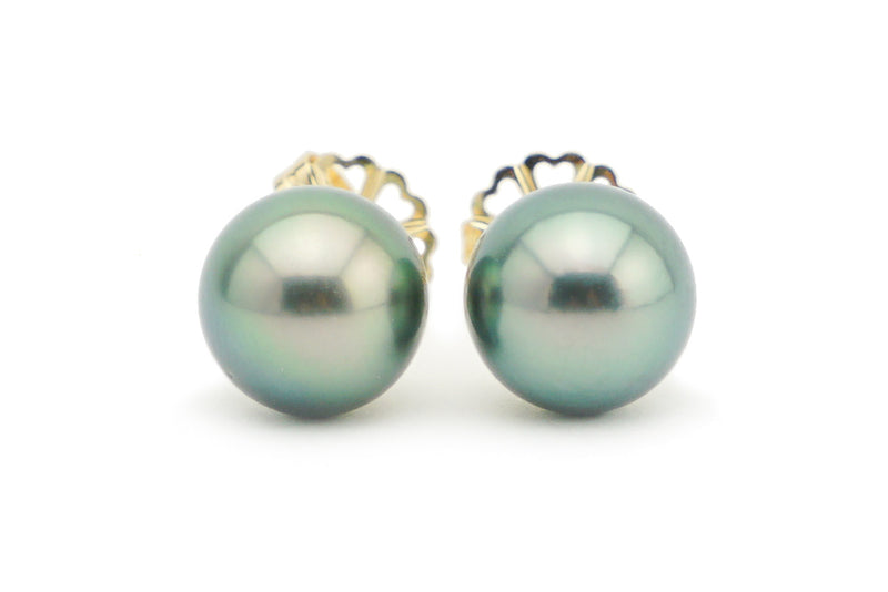 Peacock Green Statement 10mm Tahitian Pearl Stud Earrings