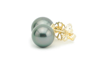 Dark Green 10.1mm Tahitian Pearl Stud Earrings