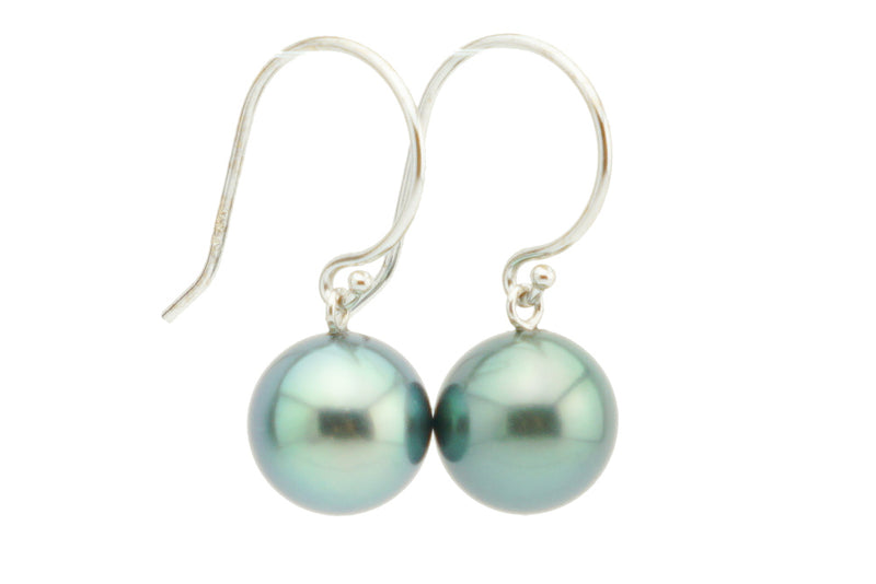 Bright Green French Hook Tahitian Pearl Earrings