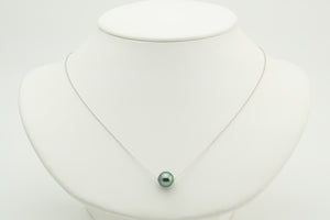 Emerald Green Tahitian Pearl Solitaire Necklace