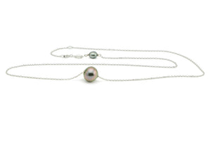 Blue Heart Aubergine Tahitian Pearl Solitaire Necklace