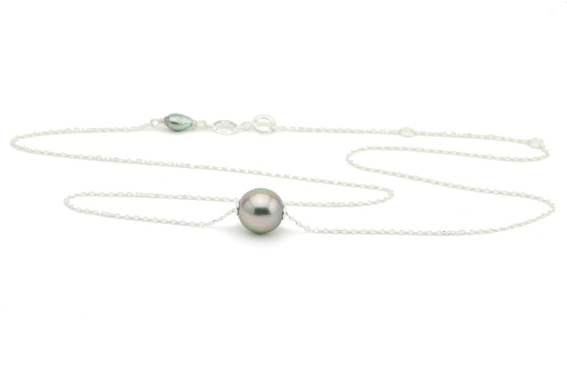 Pastel Pink Tahitian Pearl Solitaire Necklace
