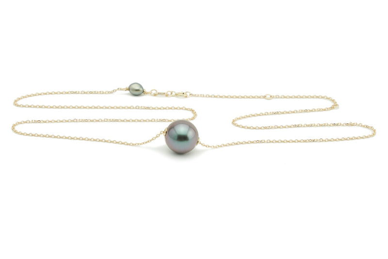 Purple Pink Perfection Tahitian Pearl Solitaire Necklace