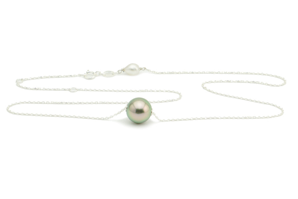 Pistachio Tahitian Pearl Solitaire Necklace