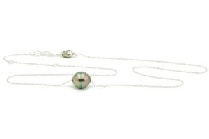 Rainbow Circle Tahitian Pearl Solitaire Necklace