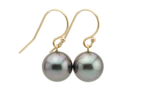 Deep Purple French Hook Tahitian Pearl Earrings