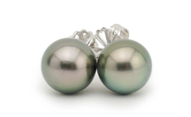 Dark Pistachio Tahitian Pearl Stud Earrings