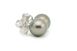 Dark Pistachio 9.2mm Tahitian Pearl Stud Earrings