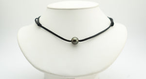 Dark chocolate bronze 12mm Tahitian pearl and leather necklace