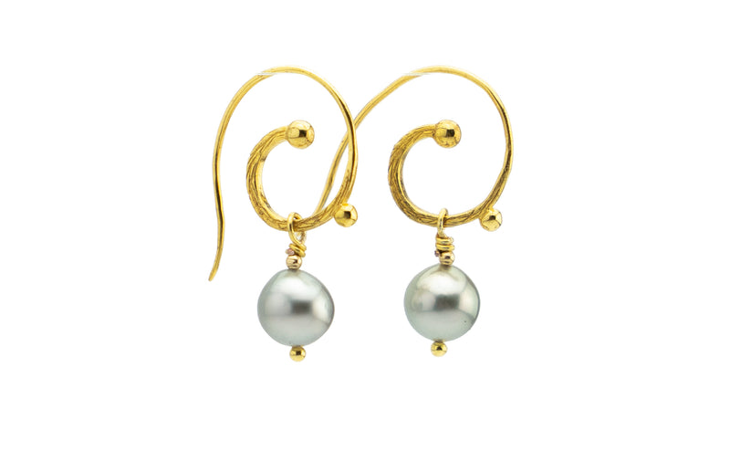 Cascadia Tahitian Baroque Pearl 18KP Gold Hoop Earrings