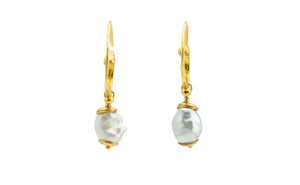 White Tahitian keshi pearl swirl hoop 18K gold earrings