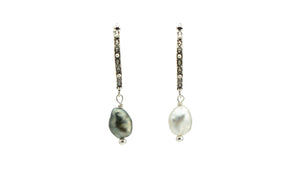 Cascadia Tahitian Keshi Pearl Sterling Silver Hoop Earrings