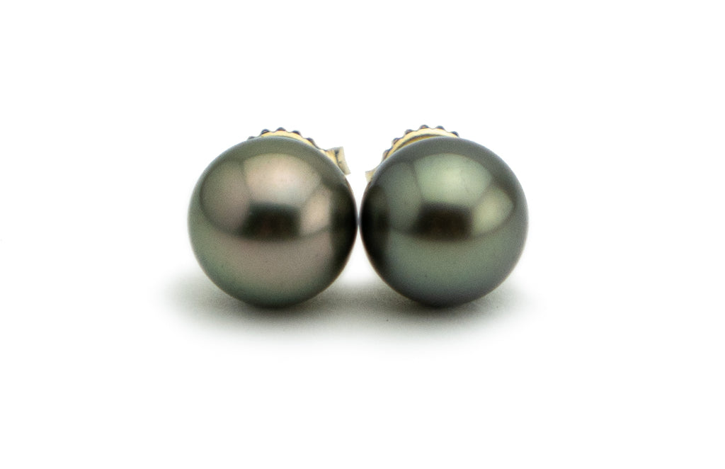 Warm Silver Tahitian Pearl Stud Earrings