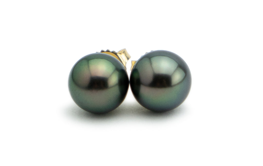 Luscious Dark Peacock Tahitian Pearl Stud Earrings
