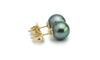 Petite Light Green Peacock Tahitian Pearl Stud Earrings
