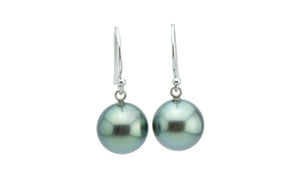 Aqua Glow Tahitian Pearl Dangle Earrings