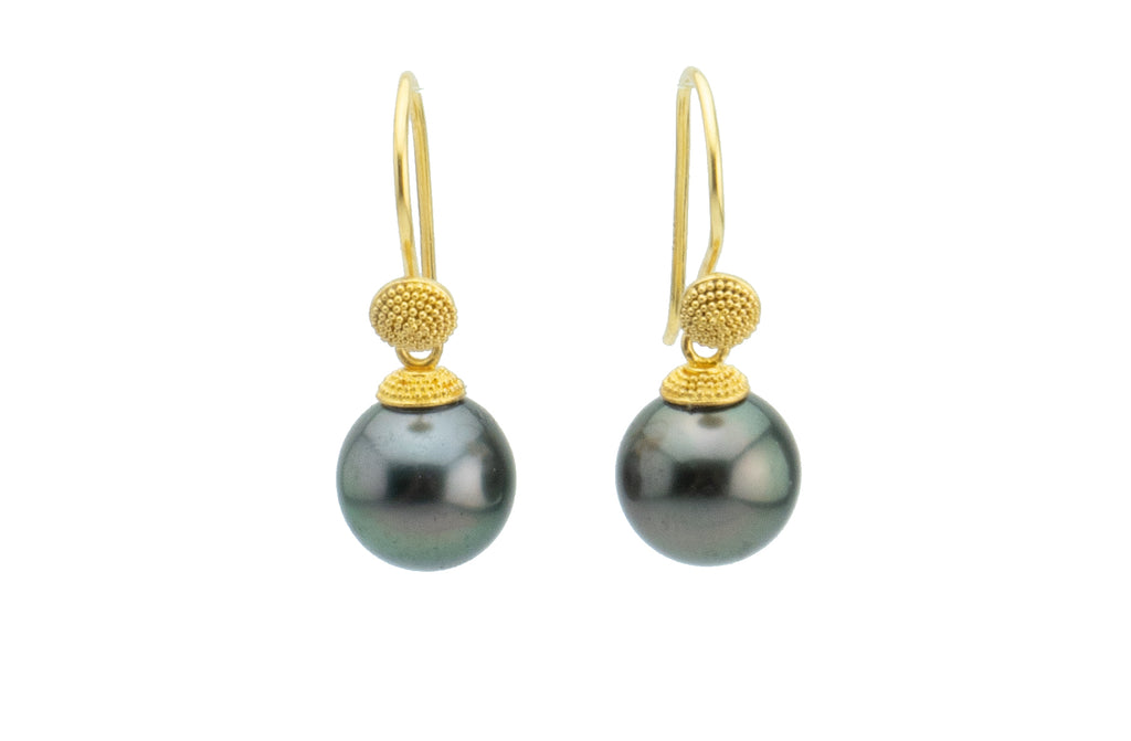 18K Bali Midnight Tahitian Pearl Dangle Earrings