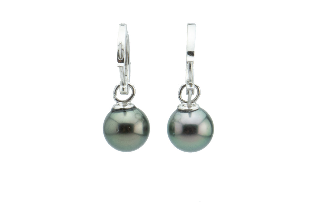 Silvery Peacock Tahitian Pearl Hoop Earrings