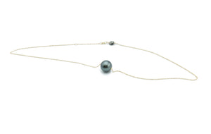 Statement Dark Stormy Green Tahitian Pearl Solitaire Necklace
