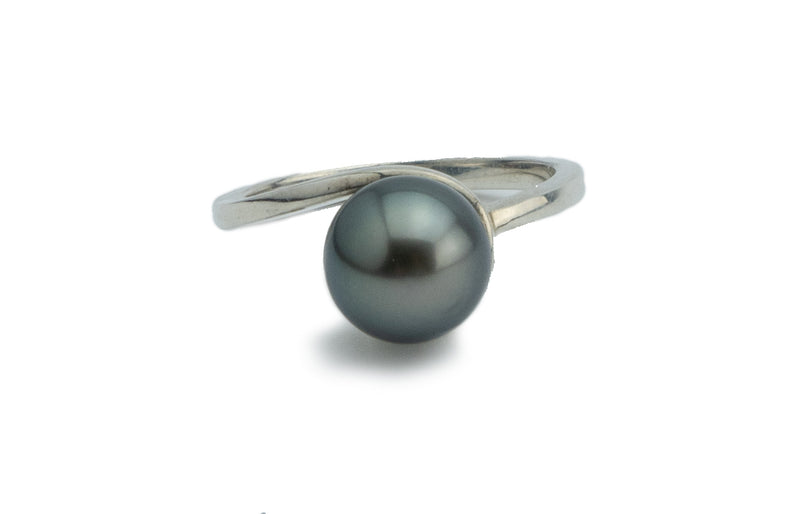 Stormy Silver-Blue Swirl Tahitian Pearl Ring