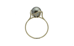 Silvery Tahitian Pearl Mermaid Ring