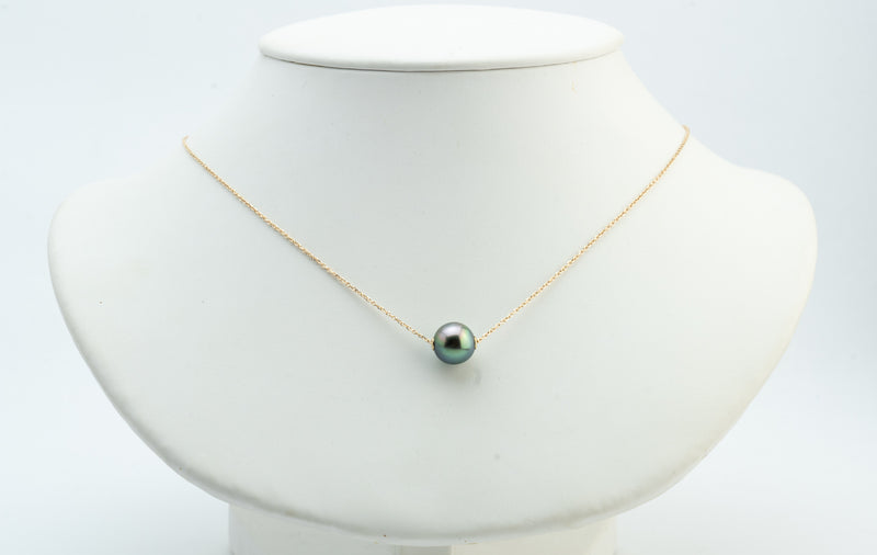 Bright Peacock Green Tahitian Pearl Solitaire Necklace