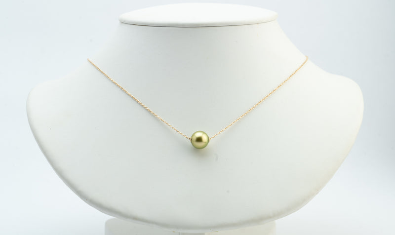 Flashy Golden Tahitian Pearl Solitaire Necklace
