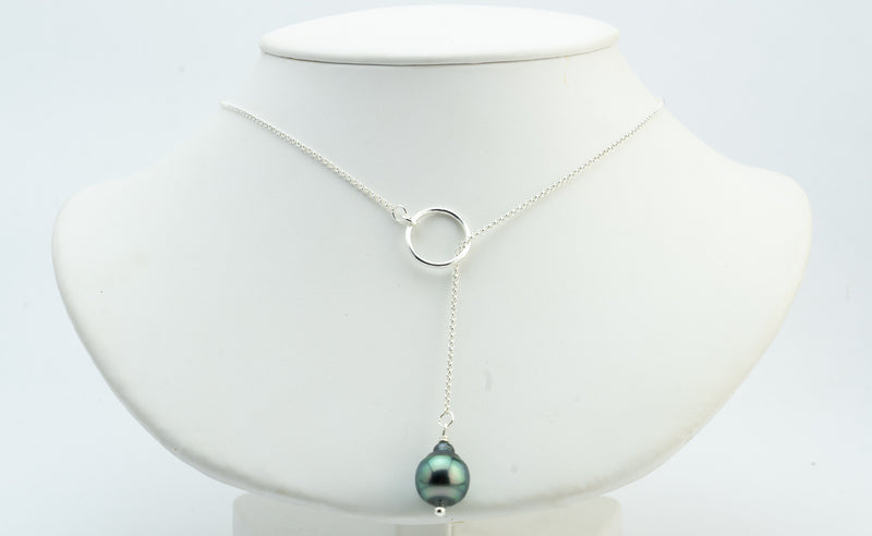 Green Circles Tahitian Pearl Lariat Chain Necklace