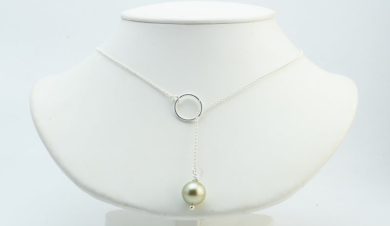 Golden Round Tahitian Pearl Lariat Chain Necklace