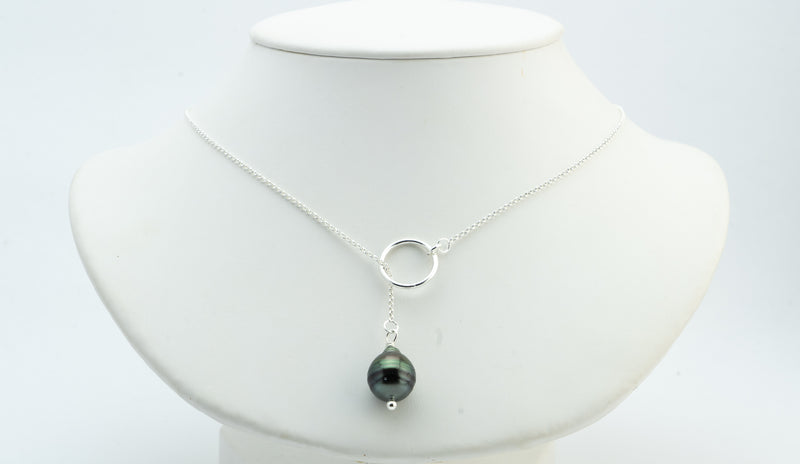 Flashy Dark Circles Tahitian Pearl Lariat Chain Necklace