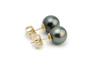 Silvery Peacock Tahitian Pearl Stud Earrings