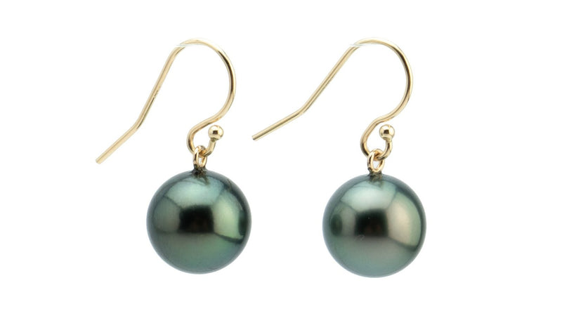 Dark Green 11mm Tahitian Pearl Dangle Earrings