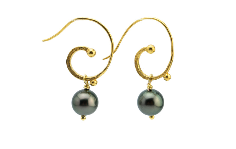 Cascadia Tahitian Black Pearl 18KP Gold Hoop Earrings