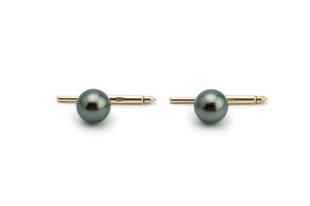 Tahitian peacock pearls 14K gold cufflinks