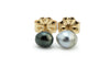Tahitian keshi pearl black and white stud earring