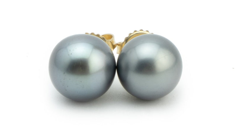 light silvery Tahitian pearl 10mm stud earrings