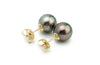 Green Tahitian pearl 10mm stud earrings
