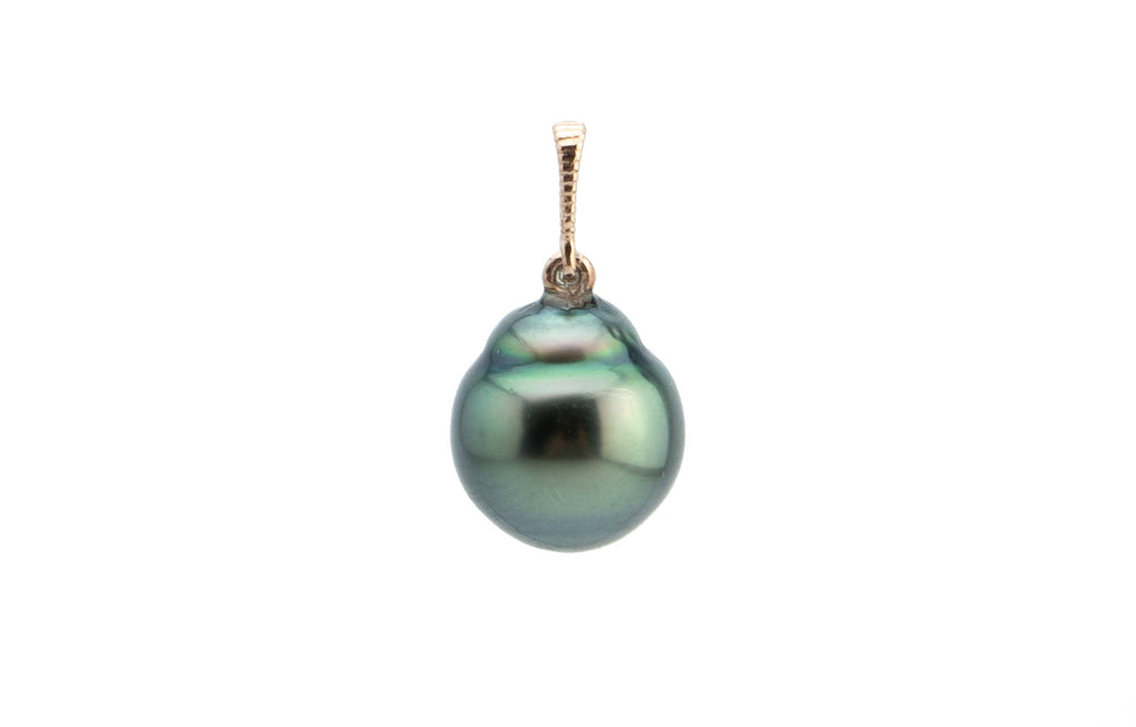 Green Circles Mermaid Tahitian Pearl Pendant on Rose Gold