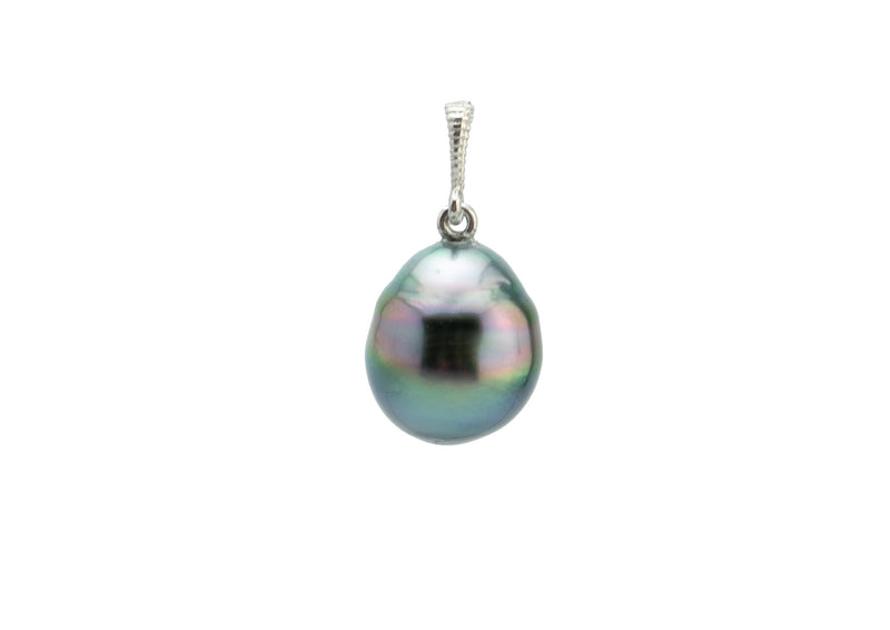 Blue Rainbow Mermaid Tahitian Pearl Pendant on White Gold