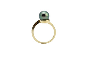 Green Rainbow Swirl Tahitian Pearl Ring
