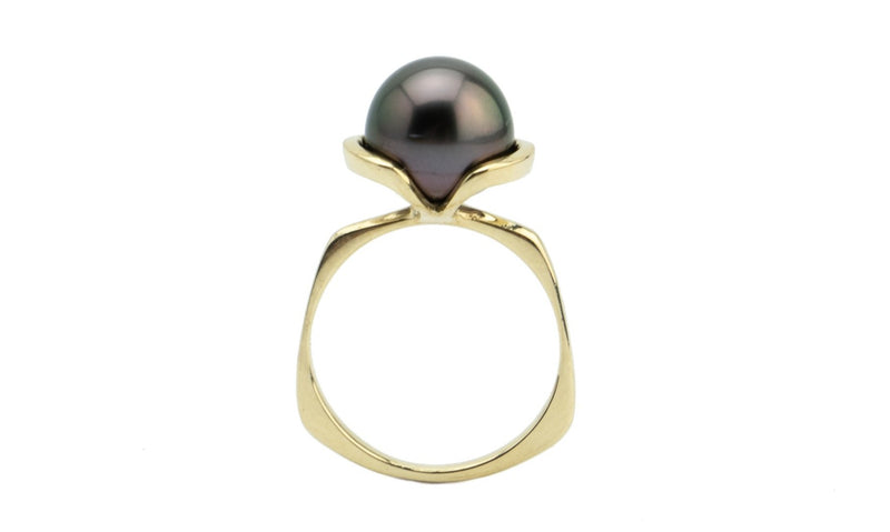 Dark Cherry Tahitian Pearl Petal Ring