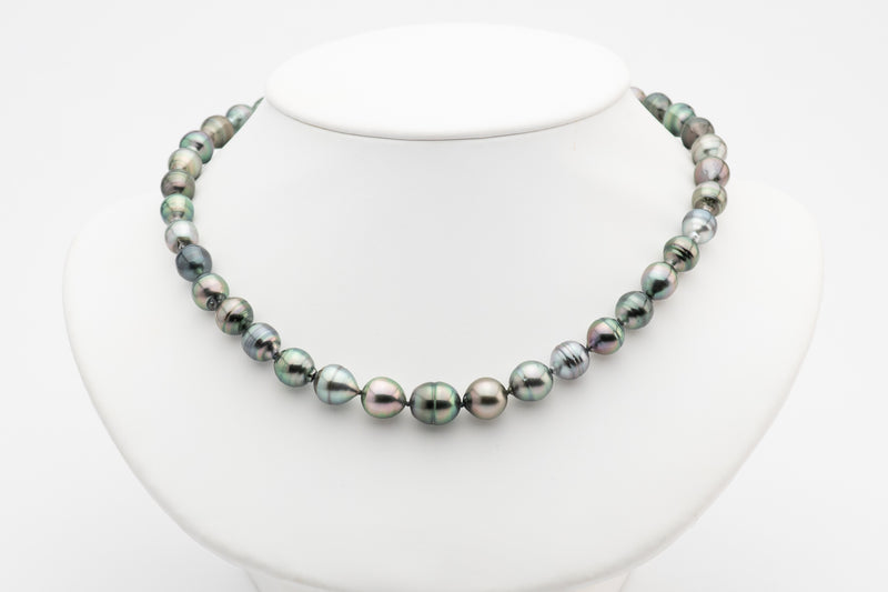 Colorful circled Tahitian pearl strand necklace
