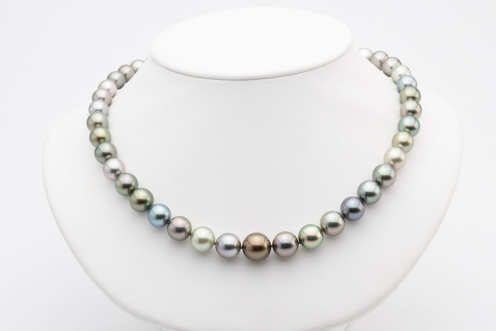 Tahitian pearl necklace chocolate blue gold green pastel