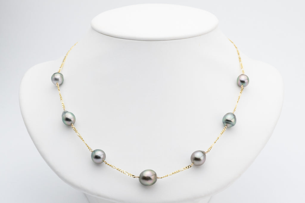 Tahitian baroque pearl tin cup station chain necklace